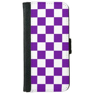 紫色の点検 iPhone 6/6S ウォレットケース