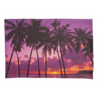 紫色の熱帯日没1の(2つの側面)枕カバー 枕カバー