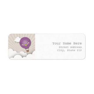 紫色の熱気の気球の宛名ラベル ラベル