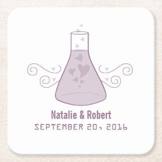 紫色の甘い化学結婚式の紙のコースター スクエアペーパーコースター