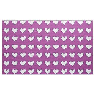 紫色の生地の巻き毛のハートの白 ファブリック