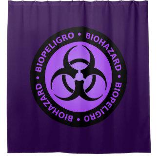 紫色の生物学的災害[有害物質]の警告標識 シャワーカーテン