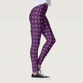 紫色の白いどくろ印 レギンス