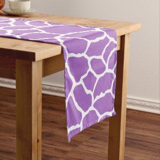 紫色の白いキリンの皮パターン ショートテーブルランナー