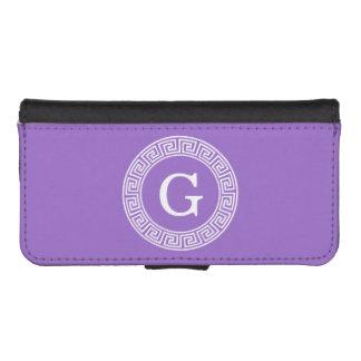 紫色の白いギリシャ人の鍵のRndフレームのイニシャルのモノグラム iPhoneSE/5/5sウォレットケース