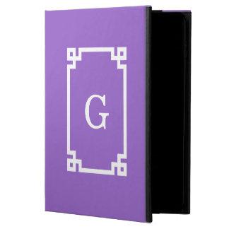 紫色の白いギリシャ人の鍵フレーム#2の最初のモノグラム POWIS iPad AIR 2 ケース