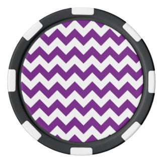 紫色の白いジグザグ形のストライプなシェブロンパターン ポーカーチップ