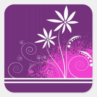 紫色の白いデイジー スクエアシール