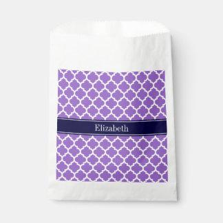 紫色の白いモトッコ人#5の濃紺の名前のモノグラム フェイバーバッグ