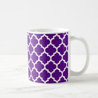 紫色の白いモロッコのクローバーパターン#5 コーヒーマグカップ