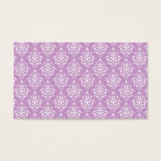 紫色の白いヴィンテージのダマスク織パターン1 名刺