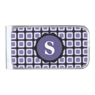 紫色の白く黒いモノグラムの点検パターン シルバー マネークリップ