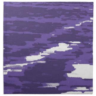 紫色の白の抽象芸術の波のレトロのナプキン ナプキンクロス