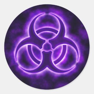 紫色の白熱生物学的災害[有害物質]の記号のステッカー ラウンドシール