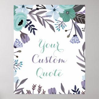 紫色の真新しい花の名前入りな引用文の芸術のプリント ポスター