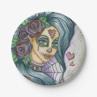 紫色の砂糖のスカルの妖精の顔 ペーパープレート