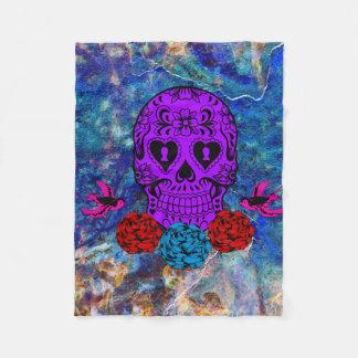 紫色の砂糖のスカル フリースブランケット