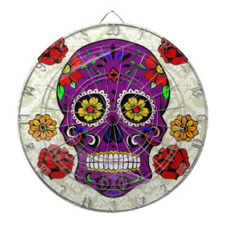 紫色の砂糖のスカル(死者の日)のダート盤 ダーツボード