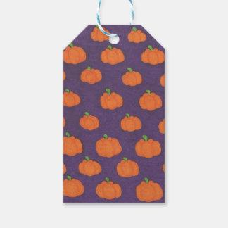 紫色の秋のカボチャパターン ギフトタグ