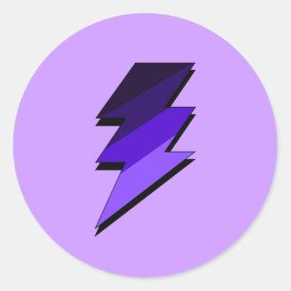 紫色の稲妻の落雷 ラウンドシール