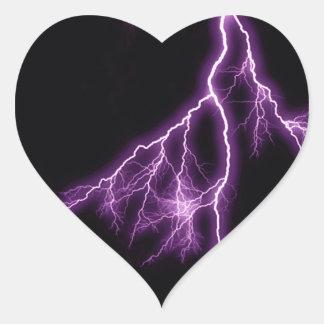 紫色の稲妻 ハートシール