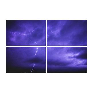 紫色の空の稲妻のトリプティクの壁の芸術 キャンバスプリント