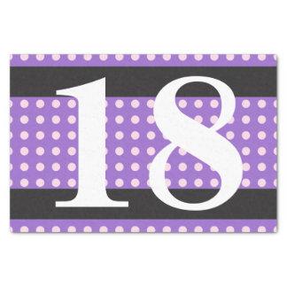 紫色の第18誕生日のピンクの水玉模様 薄葉紙