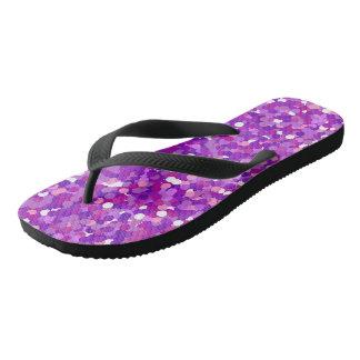 紫色の紙吹雪のグリッターパターン ビーチサンダル