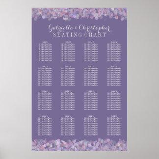 紫色の紙吹雪|の結婚の座席の図表16のテーブル ポスター