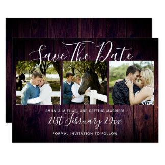 紫色の素朴な写真のコラージュの保存日付の結婚式 カード