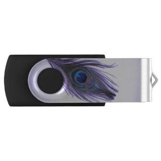 紫色の紫色の孔雀の羽 USBフラッシュドライブ