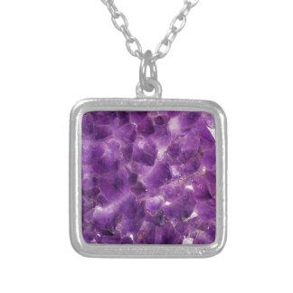 紫色の紫色の宝石用原石の石2月Birthstone シルバープレートネックレス