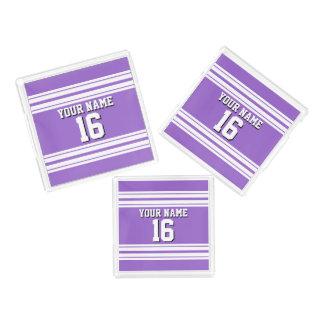 紫色の紫色の白いチームジャージーカスタムな数名前 アクリルトレー