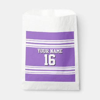 紫色の紫色の白いチームジャージーカスタムな数名前 フェイバーバッグ