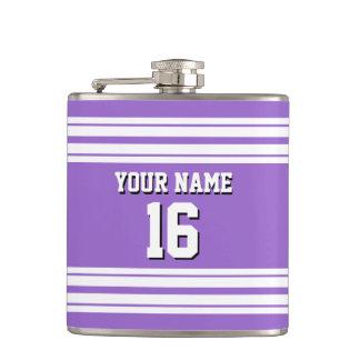 紫色の紫色の白いチームジャージーカスタムな数名前 フラスク