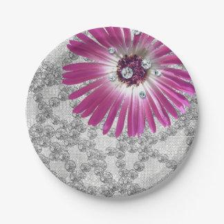 紫色の紫色の花のダイヤモンドのガーベラのグリッター ペーパープレート