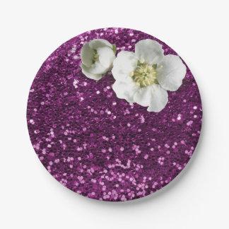 紫色の紫色の花の白いジャスミンのグリッター ペーパープレート