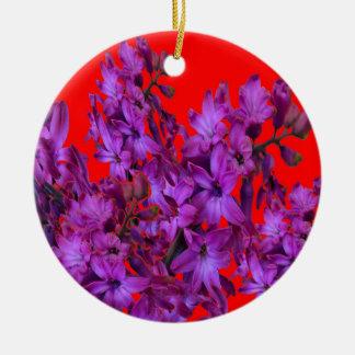 紫色の紫色のHyacinthの赤い花のギフト セラミックオーナメント