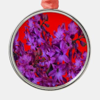 紫色の紫色のHyacinthの赤い花のギフト メタルオーナメント