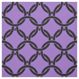 紫色の紫色は、つながれた円パターン#1を黒くします ファブリック