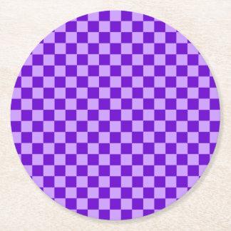 紫色の組合せのクラシックのチェッカーボード ラウンドペーパーコースター