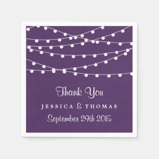 紫色の結婚式のコレクションのひもライト スタンダードカクテルナプキン