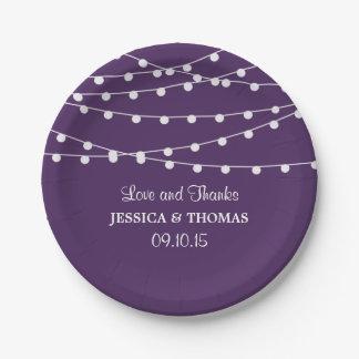 紫色の結婚式のコレクションのひもライト ペーパープレート