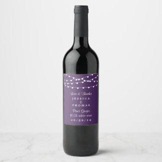 紫色の結婚式のコレクションのひもライト ワインラベル