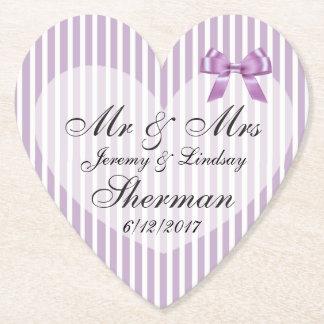 紫色の結婚式の名前入りなカスタムの紙のコースター ペーパーコースター