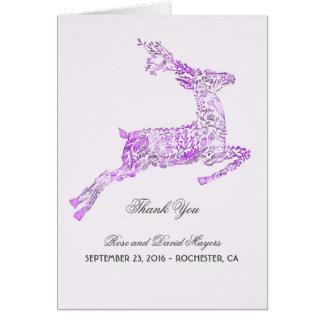 紫色の結婚式はシカとの感謝していしています ノートカード