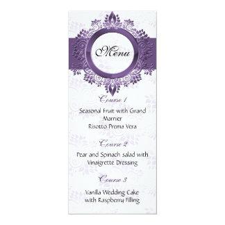 紫色の結婚式メニュー カード