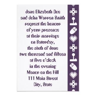 紫色の結婚式招待状の複数競技者用モード カード