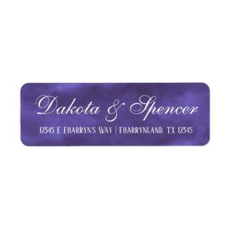 紫色の結婚式|の王室のなすみれ色の水彩画の住所 ラベル