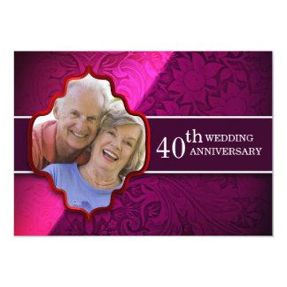 紫色の結婚記念日の写真の招待状 12.7 X 17.8 インビテーションカード
